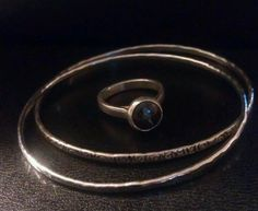 Stamped bangles & boulder opal ring