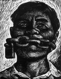 Mexican student poster for freedom of speech Artist unknown. Gravure Illustration, Illustration Art, Linocut Prints, Art Prints, Arte Punk, Dark Drawings, Scratch Art, Mexican Artists, Mexican Art