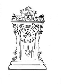 Coloring Pages Grandfather Clocks