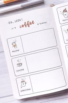 Coffee Themed Bullet Journal Spreads For 2020 - Crazy Laura - - Looking to a new theme idea to try out this month? Check out these awesome coffee bullet journal spreads for inspiration to make your layouts perfect! Bullet Journal School, Bullet Journal Inspo, Bullet Journal Spreads, December Bullet Journal, Bullet Journal Notebook, Bullet Journal Aesthetic, Bullet Journal Ideas Pages, Bullet Journal Layout, Journal Pages