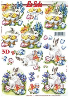 Le Suh A4 SHEET 3D DECOUPAGE - EASTER THEME 1