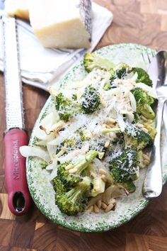 Grilled Broccoli and Vidalia Onion with Pine Nuts and Fresh Parmesan Cheese