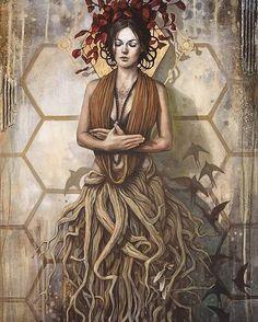 brown - Rooting - tree woman with birds - painting - Sophie Wilkins Pop Art, Realism Artists, Street Art, Tree Woman, Magic Realism, Visionary Art, Sculpture, Dark Art, Les Oeuvres