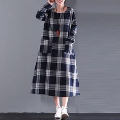 Women Cotton Linen Loose Fitting Autumn Dress
