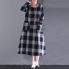 Women Cotton Linen Loose Fitting Autumn Dress