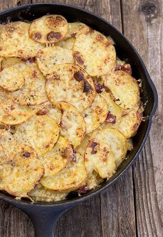 Pan Haggerty; Layers of Potatoes, Onion & Bacon, topped with Dubliner Cheese.