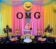 Check out this awesome Emoji Birthday Party Ideas. The dessert table is gorgeous!! See more party ideas and share yours at CatchMyParty.com