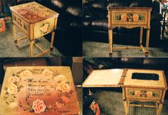 This is an old sewing machine cabinet that I painted for our daughter's wedding gift.