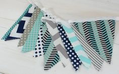 Bunting Banner Flags, Photography Prop, Nursery Decor, Birthday Decoration - Aqua Blue, Navy Blue, Gray, Grey, Chevron - Ready to Ship on Etsy, $32.50