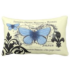Vintage Blue Butterfly Collage Throw Pillows