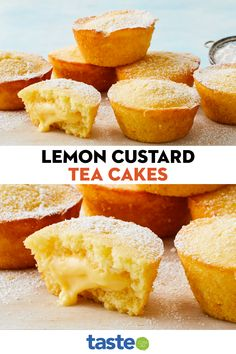 Lemon Custard, Custard Cake, Custard Desserts, Lemon Tea Cake, Lemon Sponge Cake, Lemon Cakes, Recipes With Lemon Curd, Lemon Recipes Baking, Lemon Curd Uses