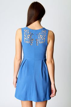 Esther Laser Cut Detail Fit And Flare Dress at boohoo.com