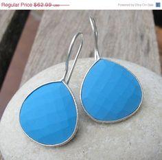 SALE Turquoise Earrings- Blue Earrings- Stone Earrings- Blue Stone Earrings- Turquoise Silver Earrings- Silver Earrings- Gemstone Earrings on Etsy, $56.69