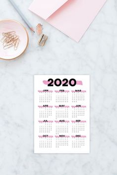 Pink printable calendar 2020 wall calendar, year at a glance desk calendar minimalist calendar, 2020 annual calendar planner yearly calendar Printable Calendar 2020, Printable Planner, Printables, Planner Tips, Happy Planner, Colouring Pages, Adult Coloring Pages, Desk Calendars, Planner Inserts
