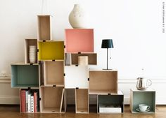 Shelf out of IKEAs wooden boxes Pränt