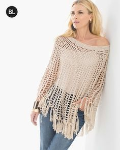 """Laidback, fashion-forward and always unexpected— it's time to add a poncho to your summer style repertoire, with exquisite open-weaving and swingy fringe detail. Individual style. Clean, modern lines. The Exclusive Black Label by Chico's™ collection. Elbow sleeves. Length: 28.5"""". Cotton, linen. Hand wash. Imported."""