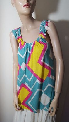 T-Bags TBags Los Angeles Blue Yellow Pink White Ruffled Vest Top Size M 12 14 #TBags #VestTopStrappyCami