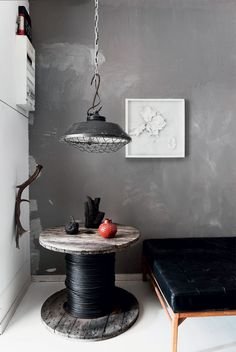 grey with black with a touch of red