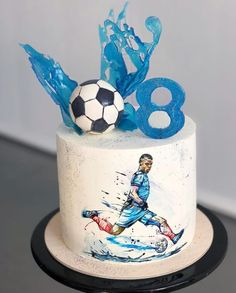 Soccer Birthday Cakes, Soccer Cake, Cake Decorating Supplies, Cake Decorating Techniques, Sports Themed Cakes, Sport Cakes, Hand Painted Cakes, Ballerina Cakes, Drip Cakes