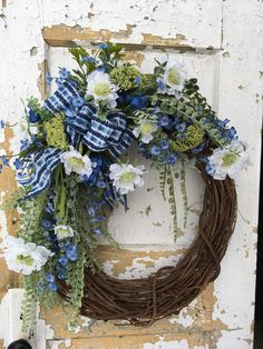 Spring Wreath, Summer Wreath, Blue Spring Wreath, Spring Decor by FlowerPowerOhio on Etsy