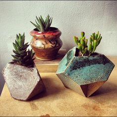 Love these geometric stone-effect planters! A great way to bring plants into the home.