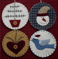The Wooden Acorn: TDIPT MERCANTILE - Wool Applique Folk Art Penny Rug Mat and Christmas Ornaments