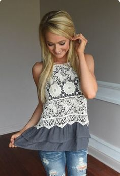 SO PRETTY! Love the neutral colors and lace design. Like the ruffles at the bottom too! Cute for summer casual!