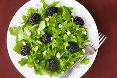 Blackberry Arugula salad with citrus vinaigrette. Yum!