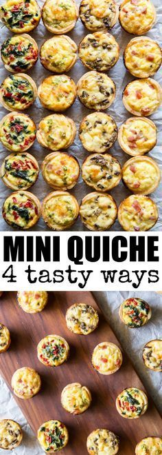 Mini Quiche 4 Ways Skip the store-bought and make your own Mini Quiche! Try these 4 tasty combos or choose your own adventure. Make ahead/freezer friendly and great for kids! via Culinary Hill The post Mini Quiche 4 Ways appeared… Continue Reading → Easy Brunch Recipes, Appetizer Recipes, Brunch Appetizers, Dinner Recipes, Breakfast Recipes, Mini Appetizers, Breakfast Finger Foods, Brunch Ideas For A Crowd, Brunch Party Foods