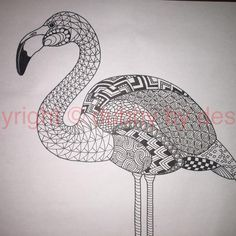 Flamingo template from Ornation Creation #dubbybydesign #zentangle #zentangleinspiredart #inkdrawing #zendoodle #doodle #flamingo