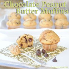 1-point quick mini muffins with a super yummy peanut butter Greek yogurt batter loaded with chocolate chips.