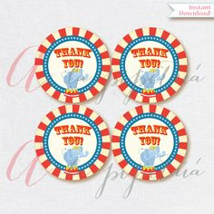 Thank You Favor Tags . Carnival tags. Printable tag. Carnival printables. Carnival Thank you tag. INSTANT DOWNLOAD