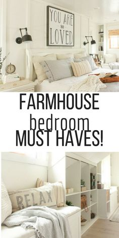Want some farmhouse style in your bedroom? Check out this bedroom and the break down of all the farmhouse bedroom must haves! I love the open shelving, board and batten and soft neutral decor. And did I mention faux wood beams? #TwelveOnMain #farmhouse #farmhousedecor #bedroomdecor #farmhousebedroom