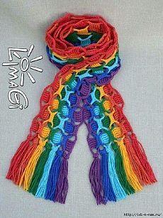 Bufanda del arco iris de punto |