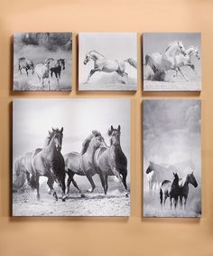 Another great find on #zulily! Black & White Horse Wrapped Canvas Set This unique wall art's poignant tone makes it a simple but inspirational addition to an antique-inspired or country-themed interior. Includes five pieces 8'' W x 15'' H Canvas / fir wood
