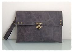 Women leather cluch tote bag wallet  strap by KishaDesigns on Etsy, $120.00