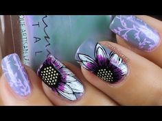 Purple Sunflowers | Reversed Nail Art Stamping Tutorial (Uberchic) - YouTube