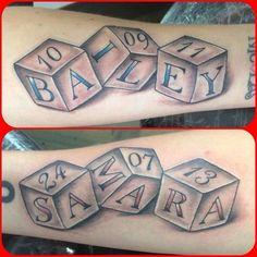 Baby blocks tattoo DOB http://amzn.to/2nK8lcv