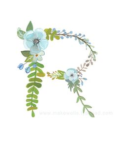 A lovely little floral interpretation of the letter K. This is a reproduction of my original, hand painted illustration. It is professionally printed on high quality white linen paper. Choose from an 8 x 10 or 11 x 14 print. Initial Art, Letter Art, Floral Letters, Alphabet Print, Illuminated Letters, Floral Illustrations, Typography Prints, Letters And Numbers, Watercolor Flowers
