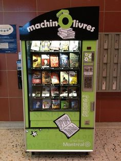 """""""Montreal welcomes 'Machin-Ô-livres' book vending machines"""" in 2013. """"The machines are located at three community swimming pools."""" -- How smart is that?!! Click through for several more photos of these machines in Montreal's South West borough, plus a round-up of a number of other book vending machines other places."""