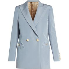 Blazé Milano Everyday Shamrock silk-faille blazer ($1,508) ❤ liked on Polyvore featuring outerwear, jackets, blazers, blazer, light blue, evening jackets, silk cami, blue blazer, light blue jacket and blue slip