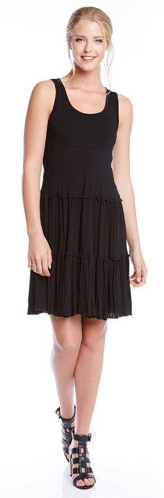 A flouncy skirt makes this dress ultra figure-flattering.