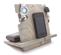 Wooden iPhone Docking Station, Universal Cell Phone Dock, iPhone 6, iPhone 5, iPhone 4, Samsung Galaxy, Android (Espresso-non personalized)