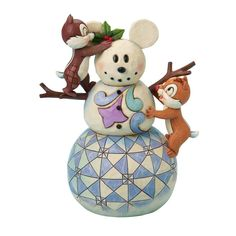 Disney Traditions by Jim Shore  Chip and Dale Making a Mickey Snowman Figurine