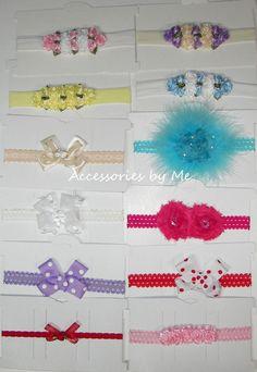 "Pick 12 Crochet 1.5/"" Interchangeable Headbands for Hair Bows or Flower Clips"