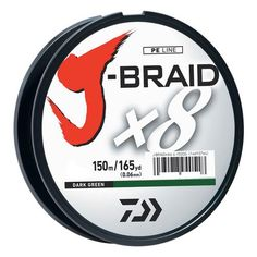 J-Braid Braided Line, 50 lbs Tested - 165 Yards/150m Filler Spool, Dark Green Outdoor Store J-Braid Braided Line, 50 lbs Tested – 165 Yards/150m Filler Spool, Dark Green Manufacture ID: JB8U50-150DG J-Braid line is a complete line up of high quality 8 carrier braid made of the finest materials from Japan. 8 Strands of tightly woven fibers makes for a perfectly round profile. The result is a much stronger, softer and smoother line that is more sensitive…