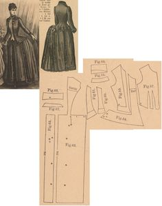 Der Bazar 1886: Indoor dress from green woollen and green plush; 57. bodice's front lining part, 58. plush bodice edge, 59. over bodice part, 60. and 61. side gores, 62. back part, 63. back gore, 64. and 65. rolled and standing collars in half sizes, 66. and 67. cuff parts