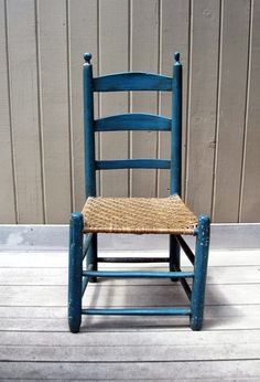 Vintage Primitive Ladder Back Chair with Woven by RushCreekVintage, $125.00