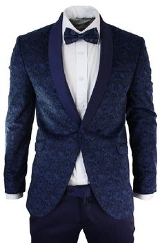 Mens Slim Fit Velvet Paisley Blazer & Trouser Tuxedo Dinner Suit Blue Satin Trim