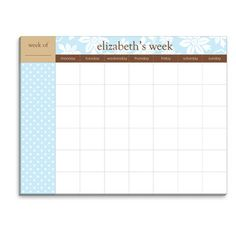Country Floral Weekly Schedule Pad